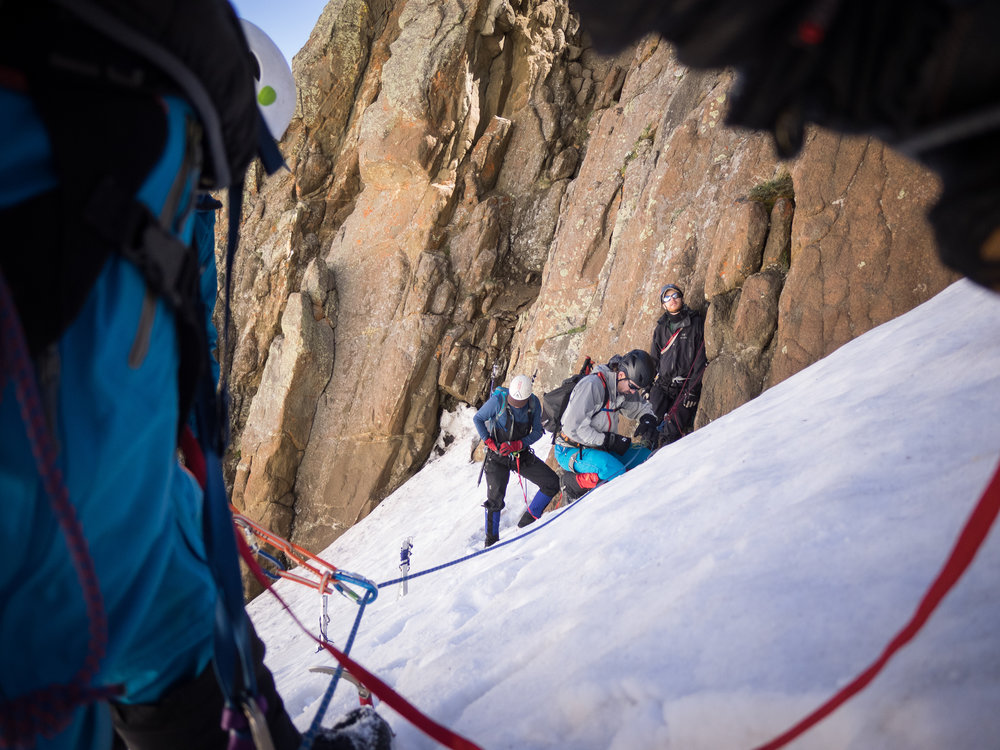 Mountaineering requires intricate teamwork-- Mount Sneffels, Colorado
