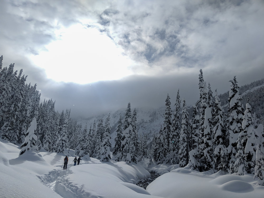 Skinning towards backcountry nirvana in the Canadian Rockies-- photo courtesy of Peter Hoburg