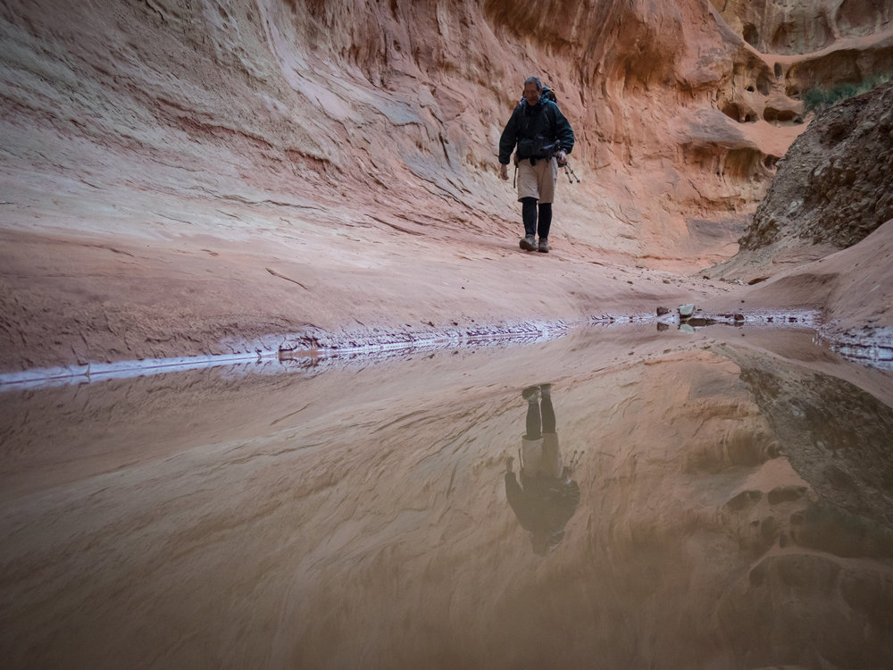 A rare moment of solitude for Tom Whalen, an outdoor educator of 30 years.-- Twilight Canyon, Grand Staircase--Escalante National Monument
