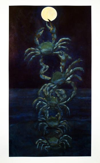 """Amor a la Luna, 2005,acrylic/paper 60""""x36"""""""