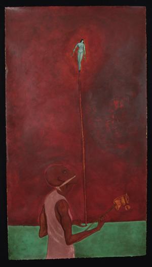 """Seducción I, 1997, acrylic/paper 65""""x42"""""""