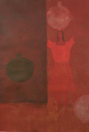 """Verdad y Fantasía, 2004,acrylic/paper 42""""x35"""""""