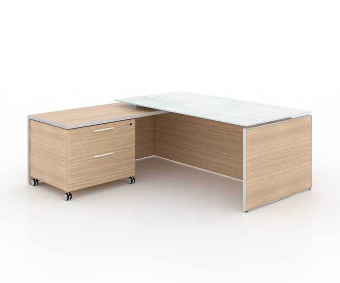 "Potenza Deluxe Executive | L- Shaped Deluxe Desk white tempered glass top - Size: 78"" W x 75"" D x 29"" H /List Price: $2,695 