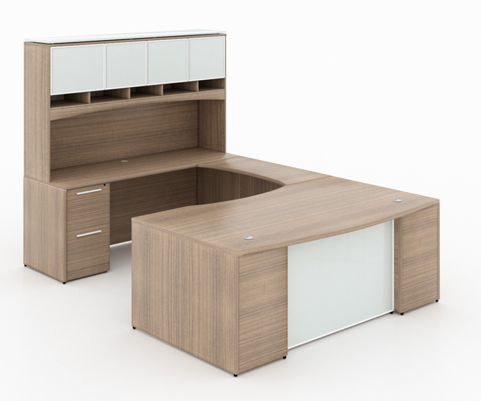"""U-Shaped bow Front Desk/ with tempered glass modesty panel - Size: 72'' W x 36'' D x 29"""" H (Bow Front Desk) + 42'' W x 24"""" D (Return) + 72'' W x 24"""" (Credenza Shell) + 72'' W x 15'' D x 43"""" H Deluxe Hutch with Glass Doors + 1 Two Box & File Pedestal + 1 File, File Pedestal.Price List: 3,285 