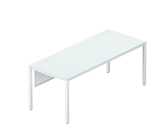 SLING /modern TEMPERATE GLASS desk series /  front desk 66'' x 30'' x 29''   LIST PRICE: $ 1,530    SPECIAL PRICE $ 899 ( NO TAX INCLUDED )