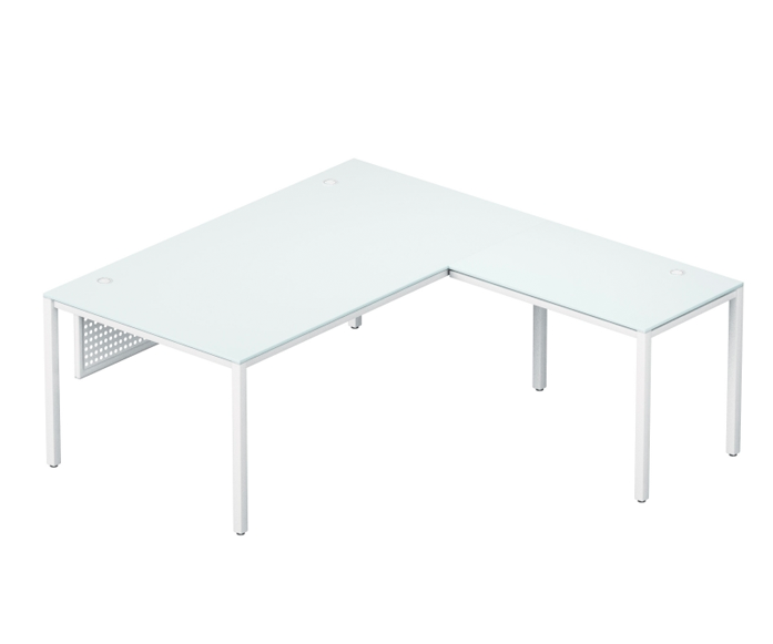 SLING /modern TEMPERATE GLASS L - Shaped desk series /  front desk 66'' x 30'' x 29'' + Return 42'' x 24''   LIST PRICE: $ 2,170    SPECIAL PRICE $ 1,299 ( NO TAX INCLUDED )