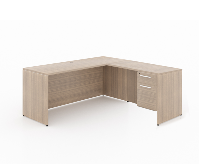 """Start-Up /Basic office L - shaped desk + box file pedestal - Size: 66'' W x 30'' D x 29"""" H + 48'' W x 24"""" D (Return) + 1 Box-File PedestalSpecial price: $ 479 *(No Tax Included)"""