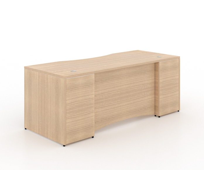 """Rectangular desk shell With curve laminate modesty panel - Size: 66'' W x 30'' D x 29"""" H + 2 drawers, 1 Filling PedestalList Price: $955 