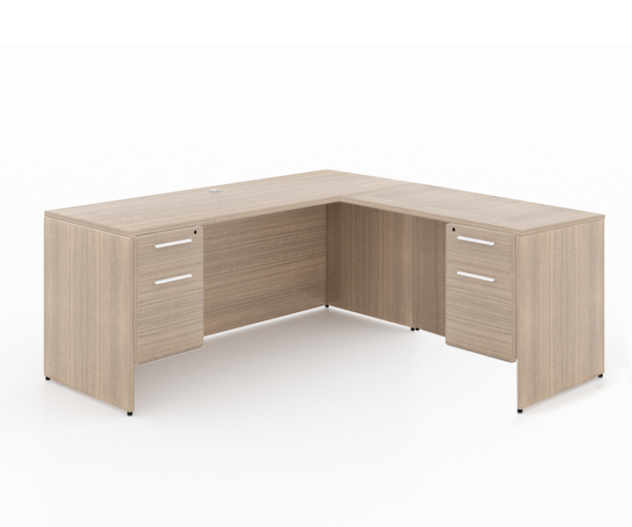 """Start-Up /Basic office L - shaped desk + 2 box file pedestal - Size: 66'' W x 30'' D x 29"""" H + 48'' W x 24"""" D (Return) + 2 Box-File PedestalSpecial price: $ 529 *(No Tax Included)"""
