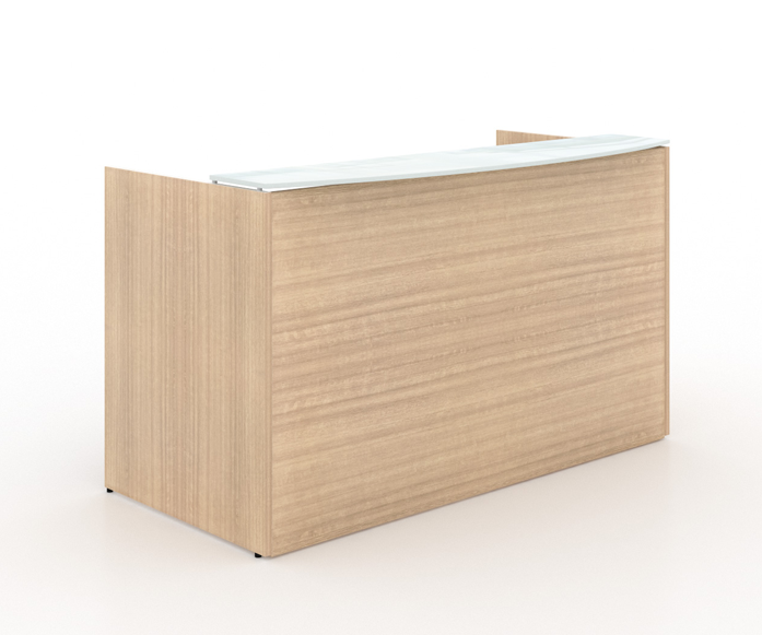"Reception desk shell/transactional floated white tempered glass top - Size: 72'' W x 36"" D x 43"" H List Price: $940 