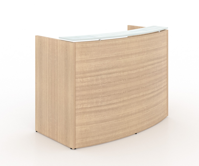 "curved Reception desk shell/transactional floated white tempered glass top - Size: 60'' W x 24"" D x 42"" H List Price: $1,280 