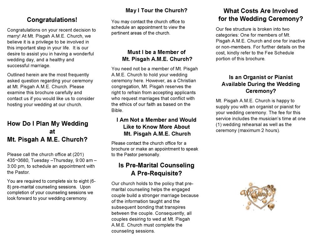 Weddings — Mt  Pisgah A M E  Church