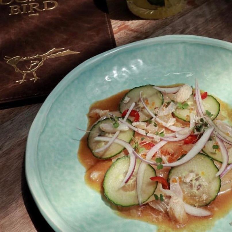 Peruvian Nikkei Kingfish Tiradito, yuzu soy menjuje, lychee