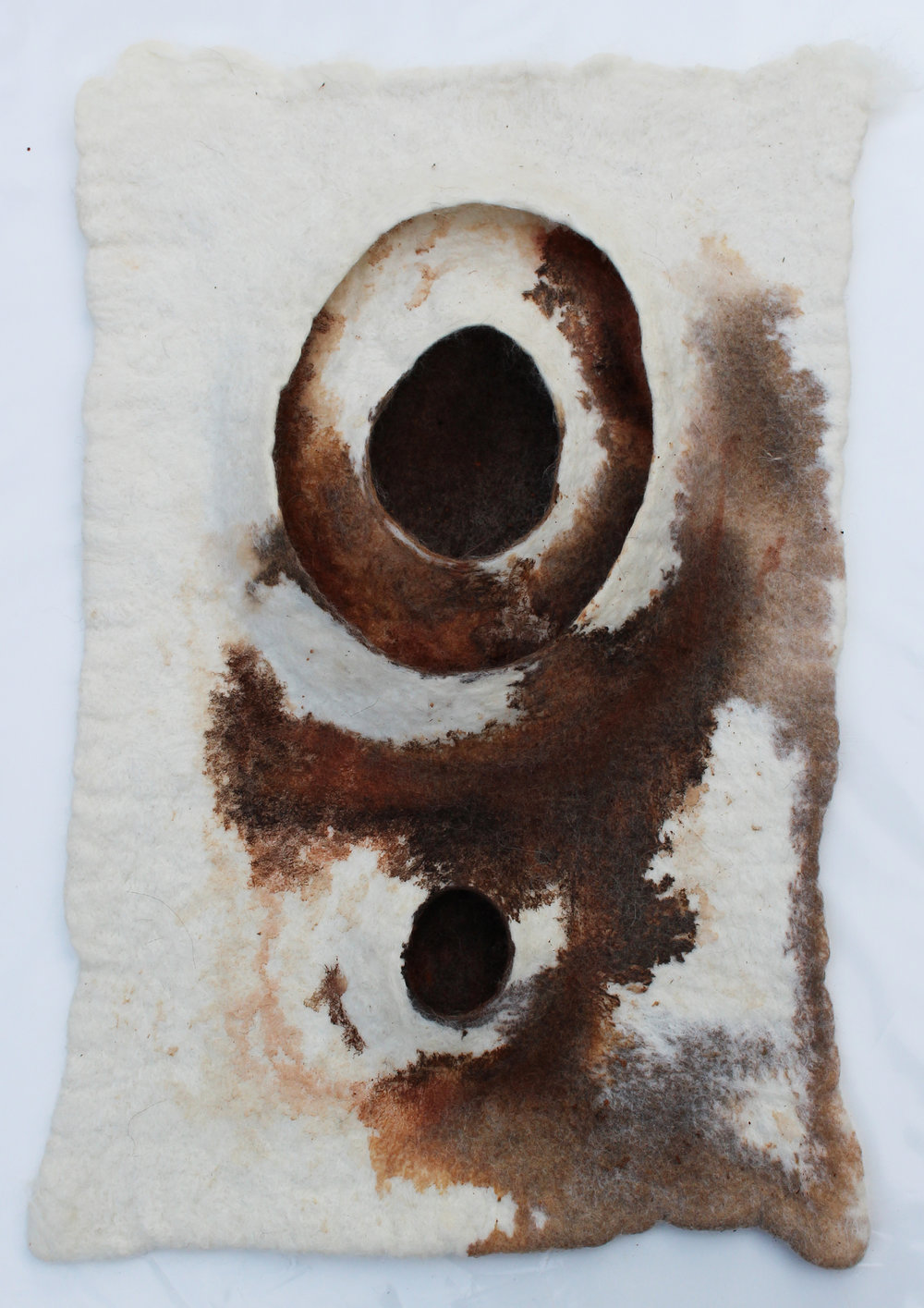 Ochre II - White Merino, Corriedale, Romney Marsh, dyed with hand-painted earth pigment