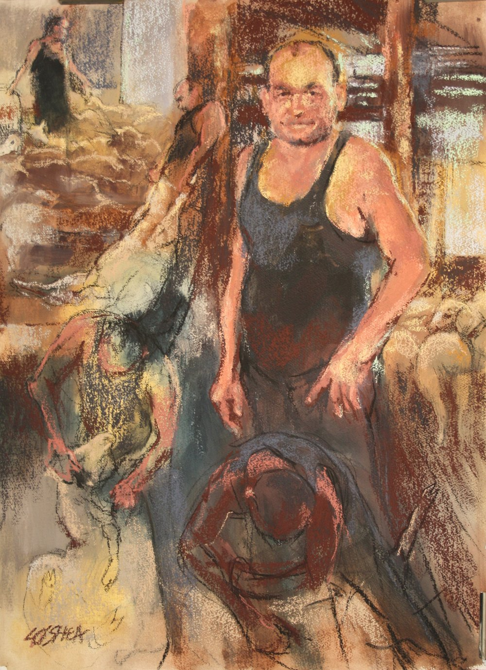 In the Woolshed. Portrait of Craig Siemsen, Shearer..JPG