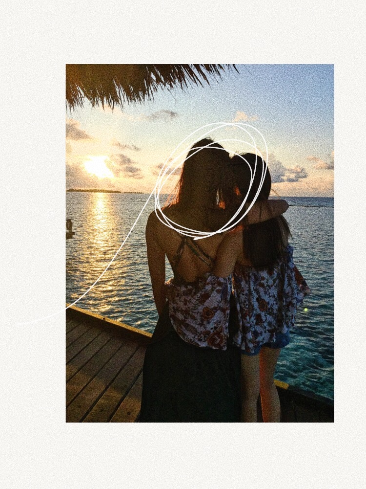 Me and sis staring at the sunset in Maldives :D