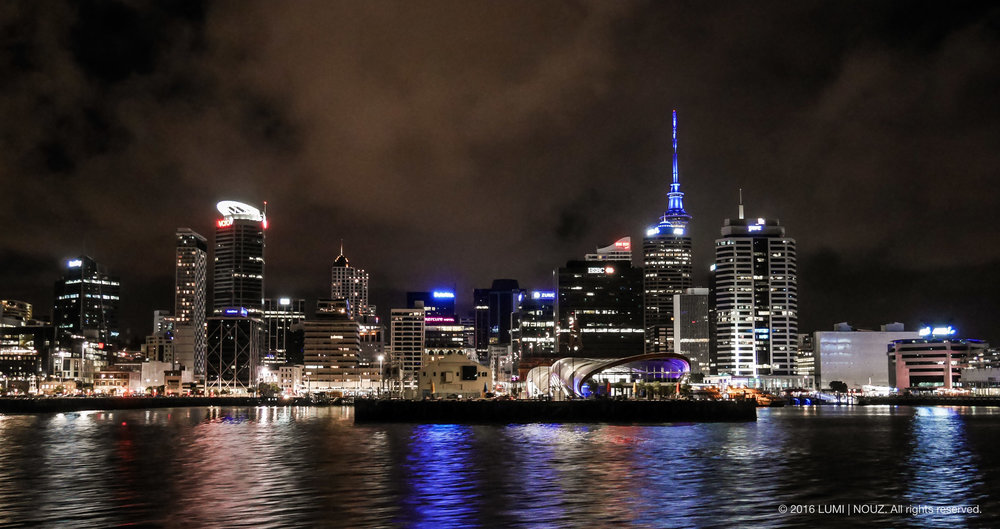 Auckland harbour at night, North Island, New Zealand