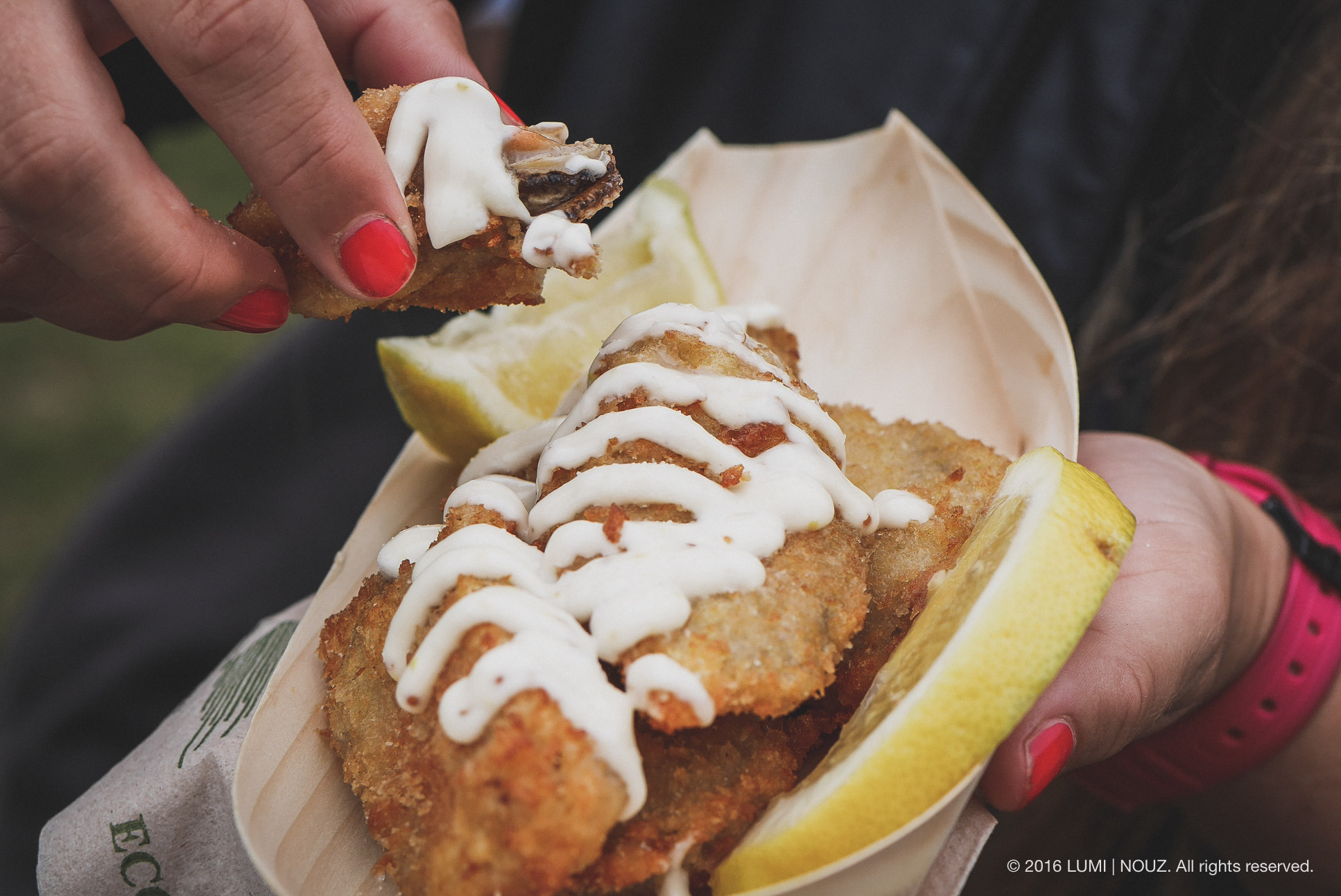 breaded mussels, Hokitika Wild Food Festival, South Island, New Zealand