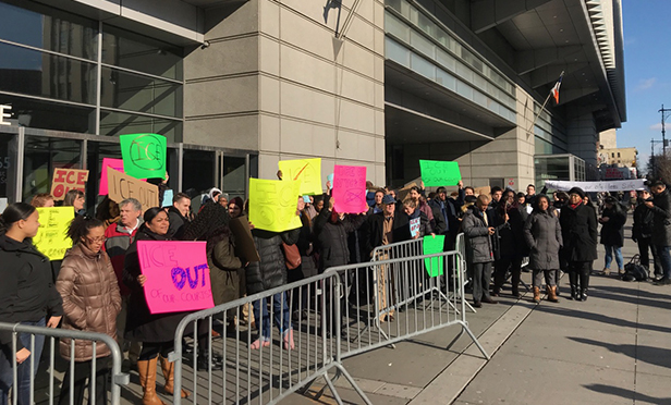 Attorneys protesting today outside the Bronx Hall of Justice. Photo courtesy of Casey Dalporto.