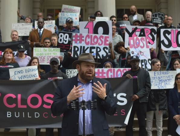 Council Member Rory Lancman speaks at a #closeRikers rally. By George Joseph Sep 10, 2018