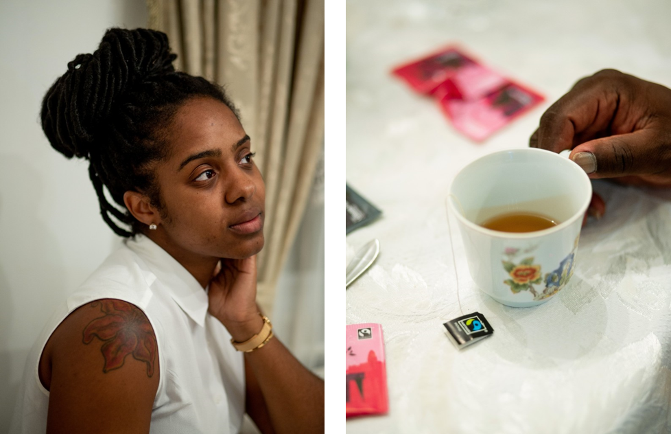 Left/Top: Britney Michel. Right/Bottom: Danny Michel holds a cup of tea.  Photos: Ariel Zambelich/The Intercept