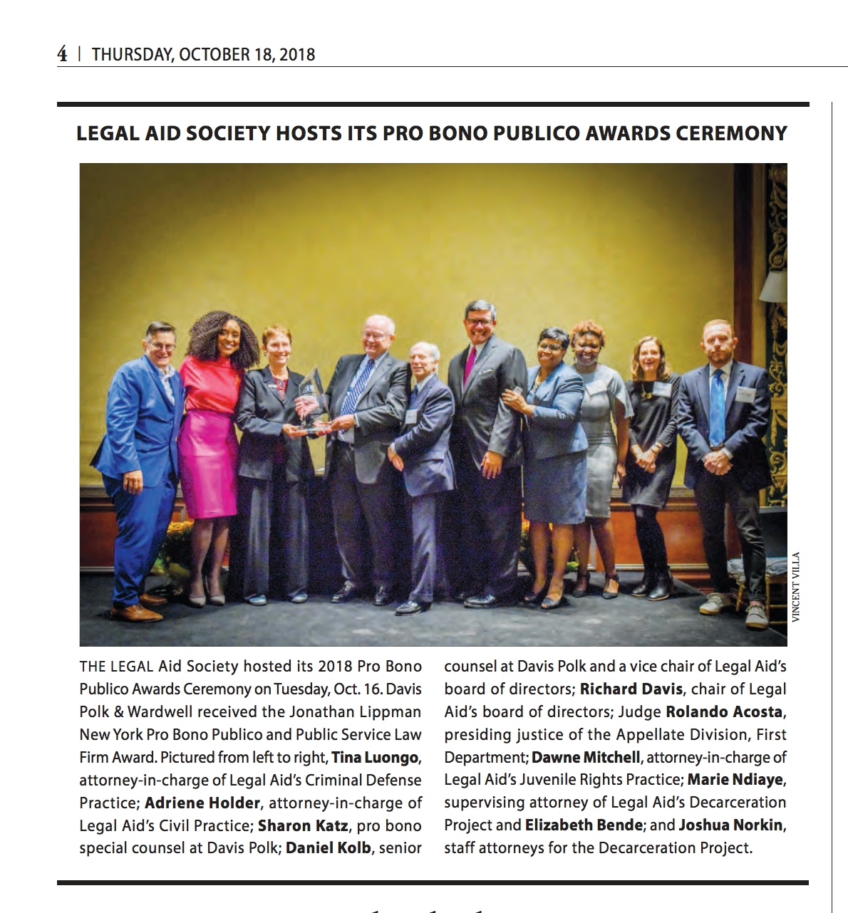 Legal Aid's 2018 Pro Bono Publico Awards Ceremony — The Legal Aid