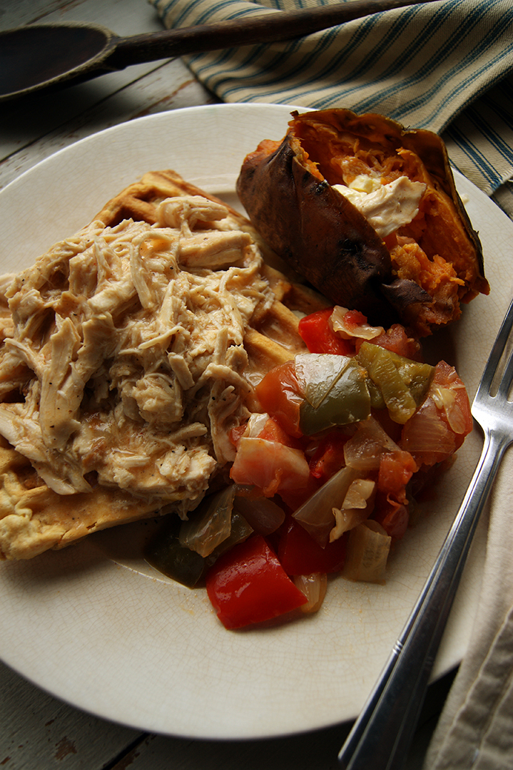 Chicken Gravy over Waffles with Sweet Potato
