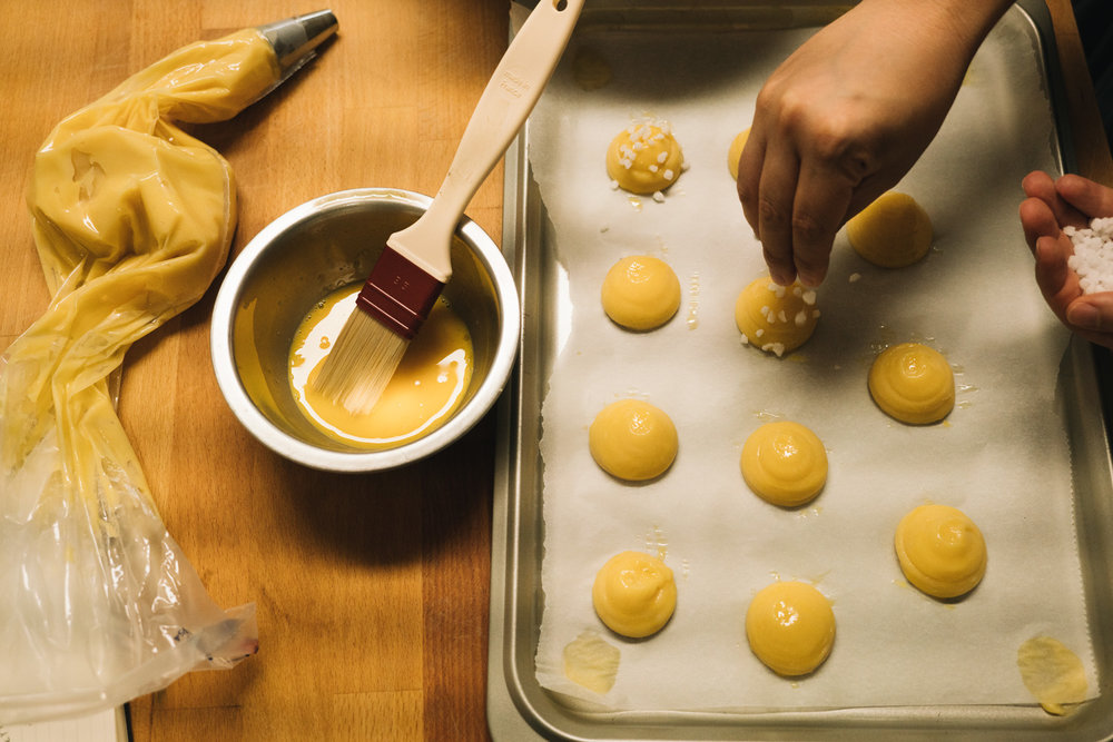 Making chouquettes by  Jamie Beck