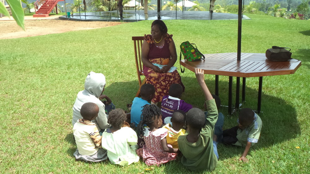 Children being taught at the gardens by Millicent