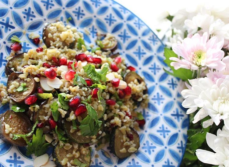 MIDDLE EASTERN FREEKEH, COURGETTE AND AUBERGINE SALAD
