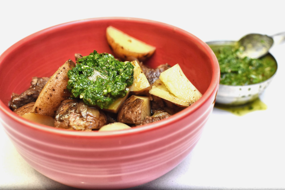 Beef Stew with Chimichurri Sauce