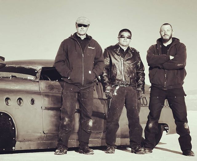 BONNEVILLE SALT FLAT SPEEDWAY. 2011. we got the job done. Surg and Mikey-O to my left with #bombshellbetty. Getting ready to go back with @don_cash2 and his re-creation  BombshellBetty 2.0 - we'll just do safety tech inspection and bailout procedure at #speedweek 2018  looking forward!
