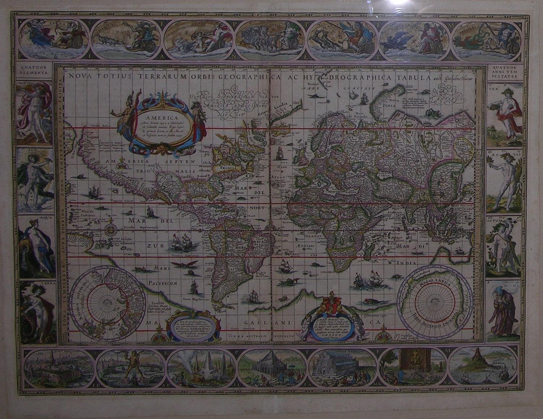 Blaeu World Map.Blaeu Willem 1571 1638 Nova Totius Terrarum Orbis Geographia Ac