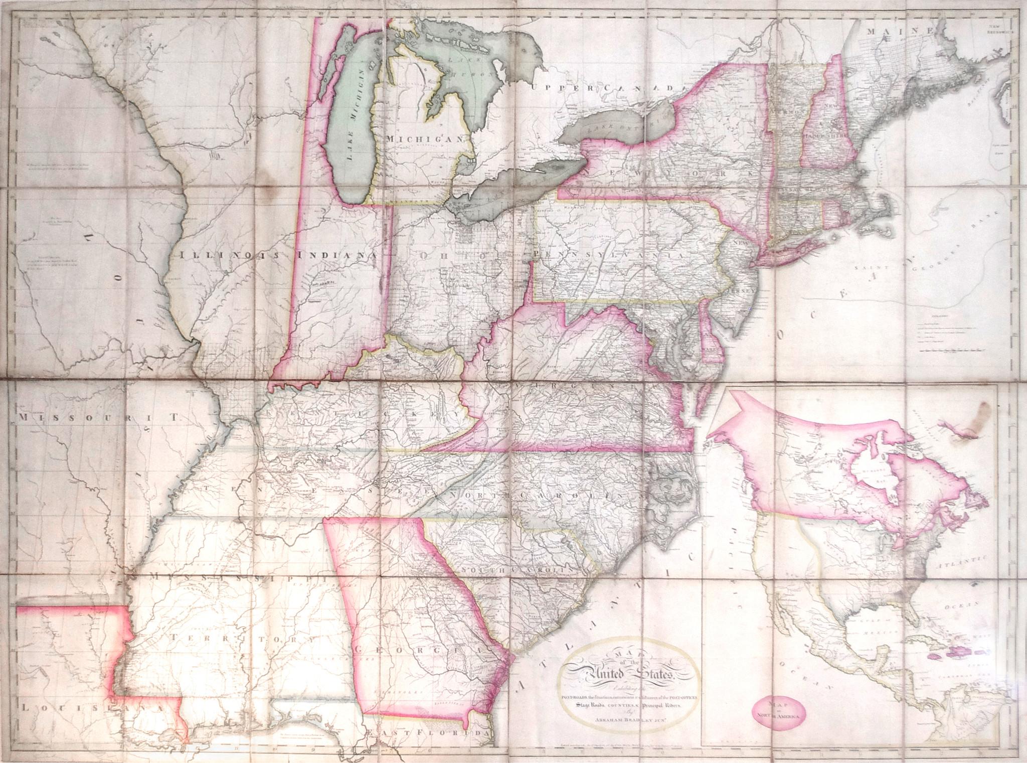 Bradley Abraham Jr 1767 1838 Bradleys Map Of The United - Us-map-sections