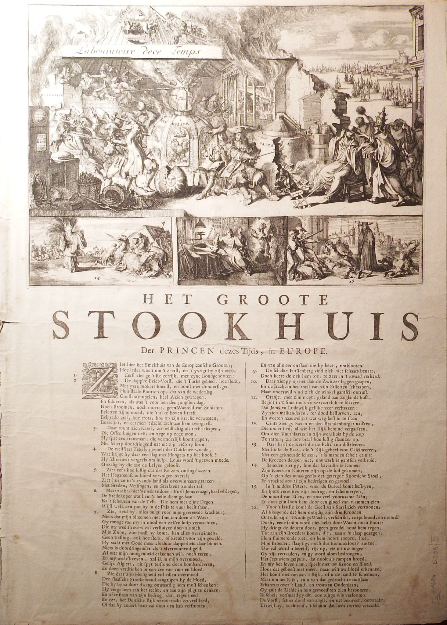 DE HOOGHE, Romeyn (1645 - 1708). Het Groote Stookhuis Der Princen dezes  Tijds, in Europe. [?Haarlem: 1689].