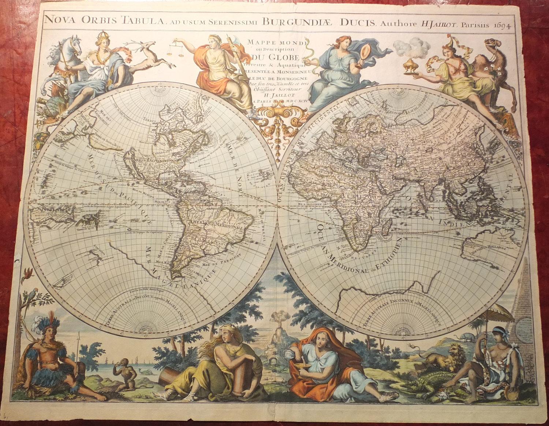 JAILLOT, Alexis Hubert (ca.1632-1712). Nova Orbis Tabula, ad usum  Serenissimi Burgundiae Ducis...Paris: H. Jaillot, 1694.