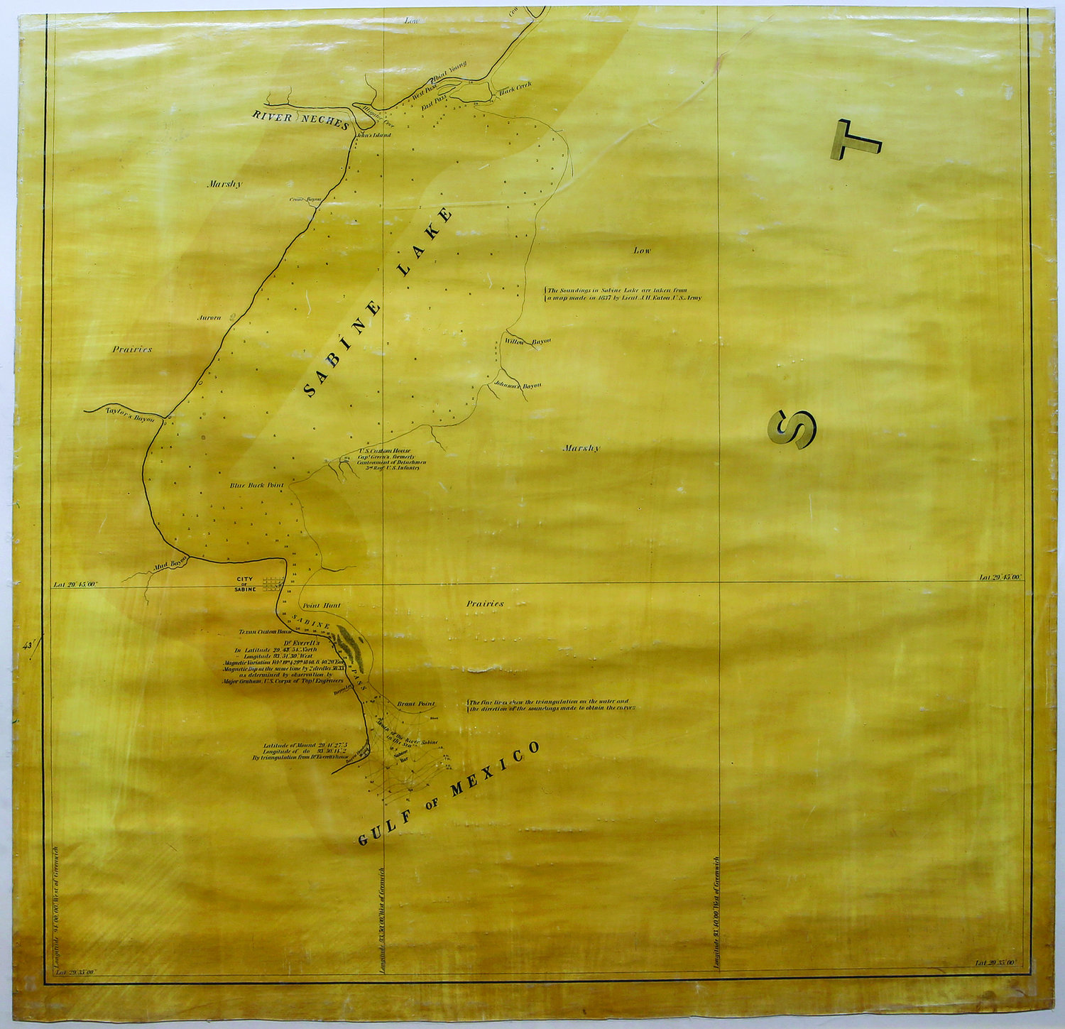Map Of The River Sabine From Its Mouth On The Gulf Of Mexico In The