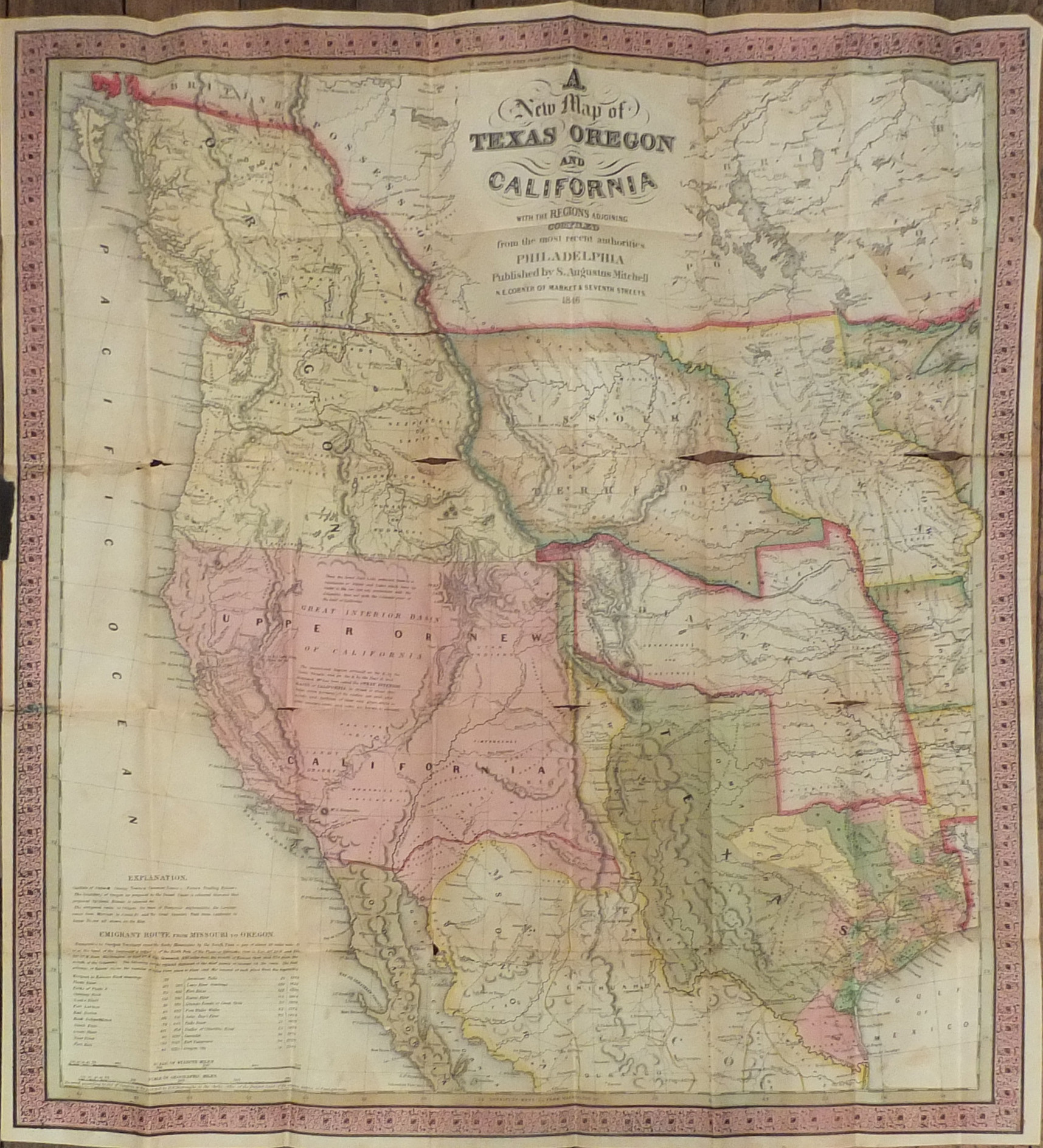 MITC, Samuel Augustus (1790-1868). A New Map of Texas, Oregon ... on
