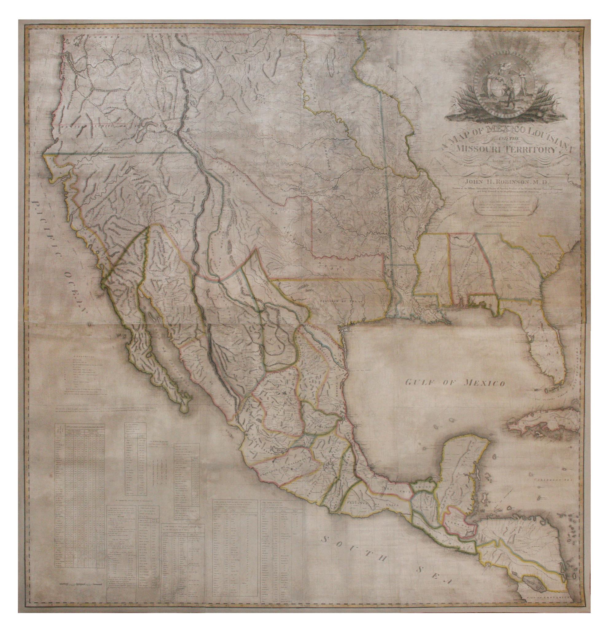 Robinson John Hamilton 1782 1819 A Map Of Mexico Louisiana And - Us-map-1819