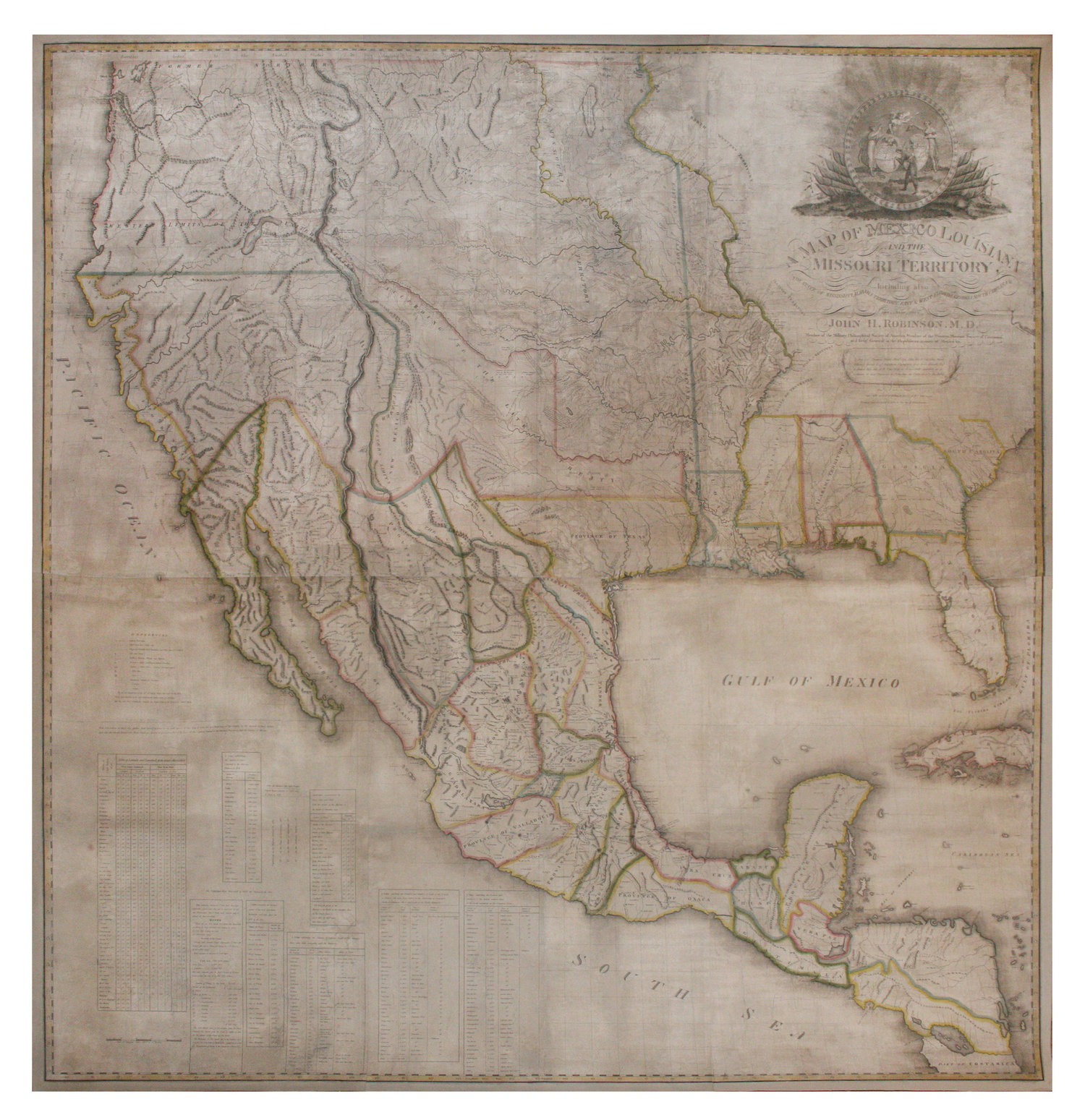 Robinson John Hamilton 1782 1819 A Map Of Mexico Louisiana And