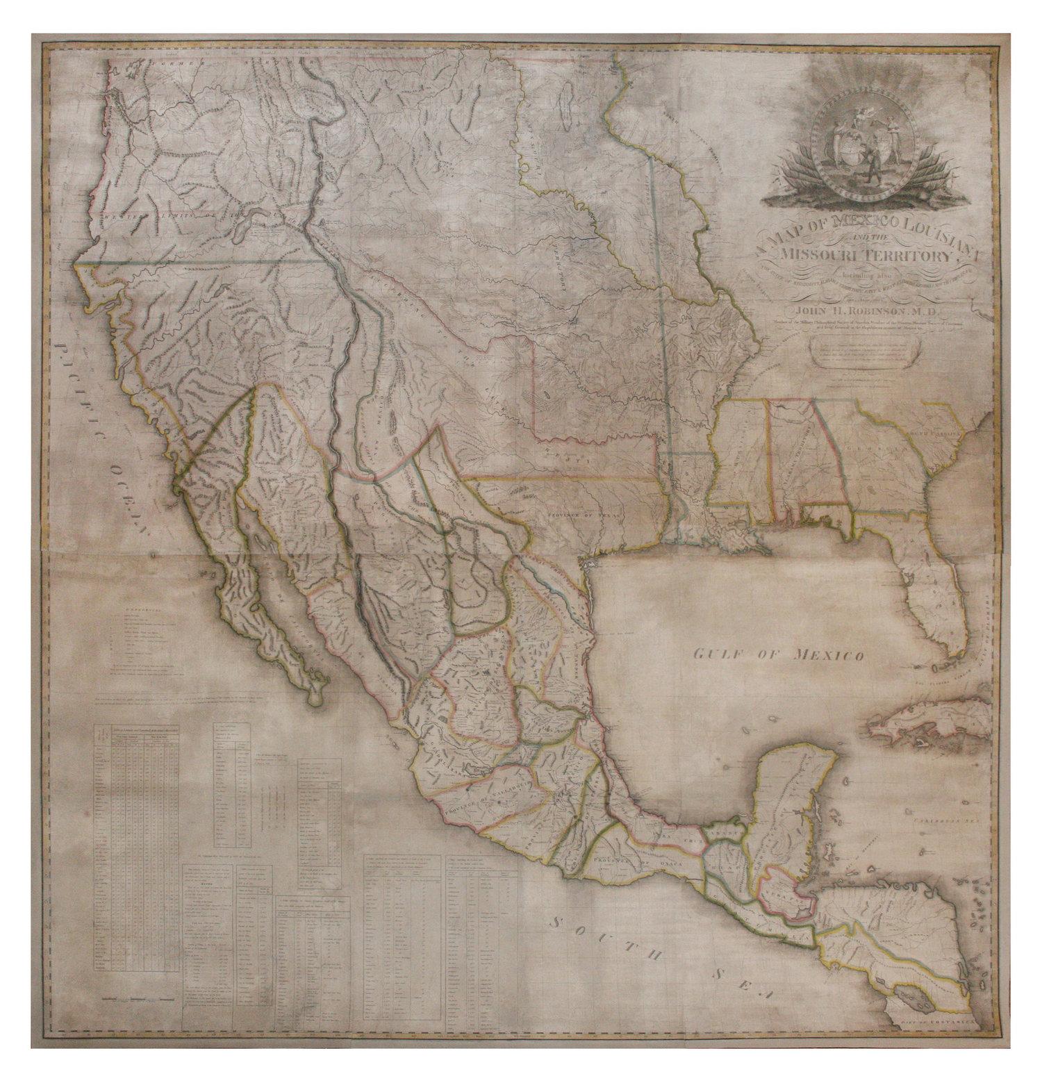 ROBINSON, John Hamilton (1782-1819). A Map of Mexico, Louisiana and ...