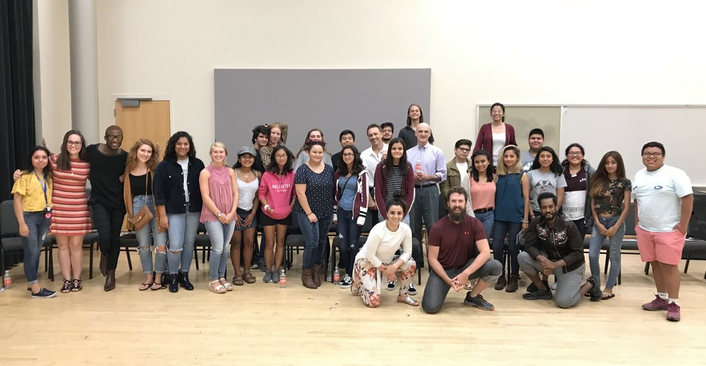 """JM actors share a photo with actors from """"Sherwood: The Adventures of Robin Hood"""" after a post-show discussion at PlayMakers Repertory Company."""