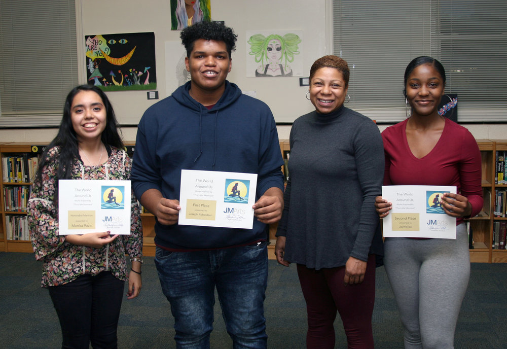 "Award recipients in ""The World Around You"" art show were, from left, Monica Razo, Joseph Richardson, teacher Rahma Mateen-Mason and Jaymonee."