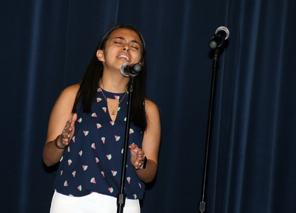 Jennifer Trejo Benitez of Jordan-Matthews High School auditions for Sing and Play '19, a musical competition open to elementary, middle and high school students throughout the area. She was one of 18 student acts selected for the showcase concert on February 21.