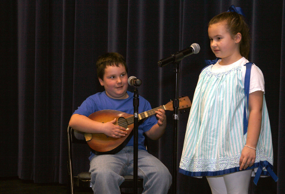 Jack and Jillian Dixon of Silk Hope School audition for Sing and Play '19, a musical competition open to elementary, middle and high school students throughout the area. The duo will perform on February 21 at 6:30 p.m. in the Sing and Play showcase concert at Jordan-Matthews.
