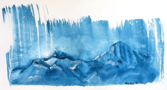 Mountains at night, in gouache on paper
