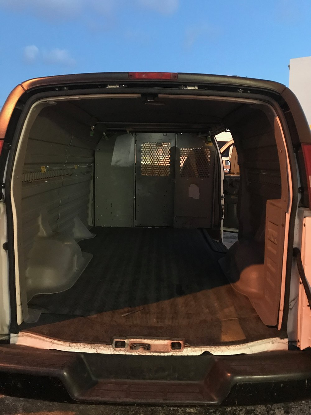the inside of our 9 year old van, taking it off the courier service fleet and giving it a last hoorah of road trips.