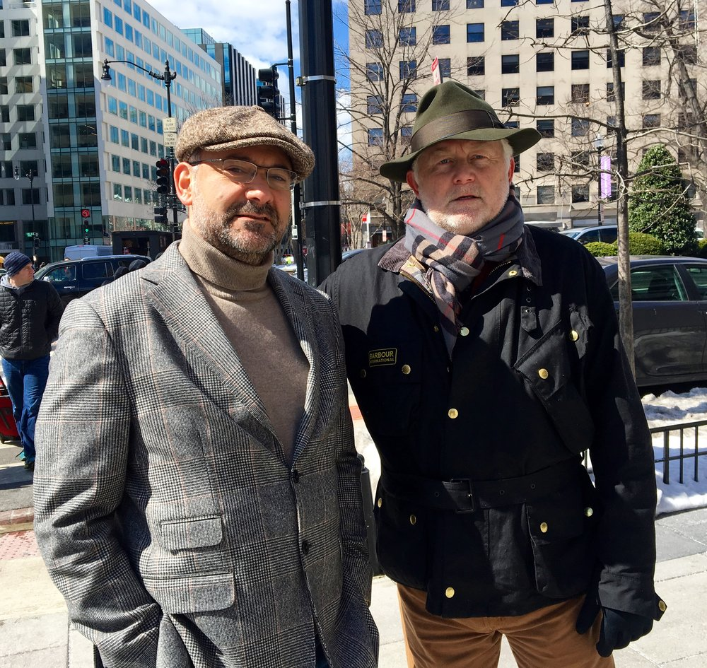 Emanuele Ottolenghi, Senior Fellow at the Foundation for Defense of Democracies, and McKay Daines during filming of True Iran in Washington D.C.
