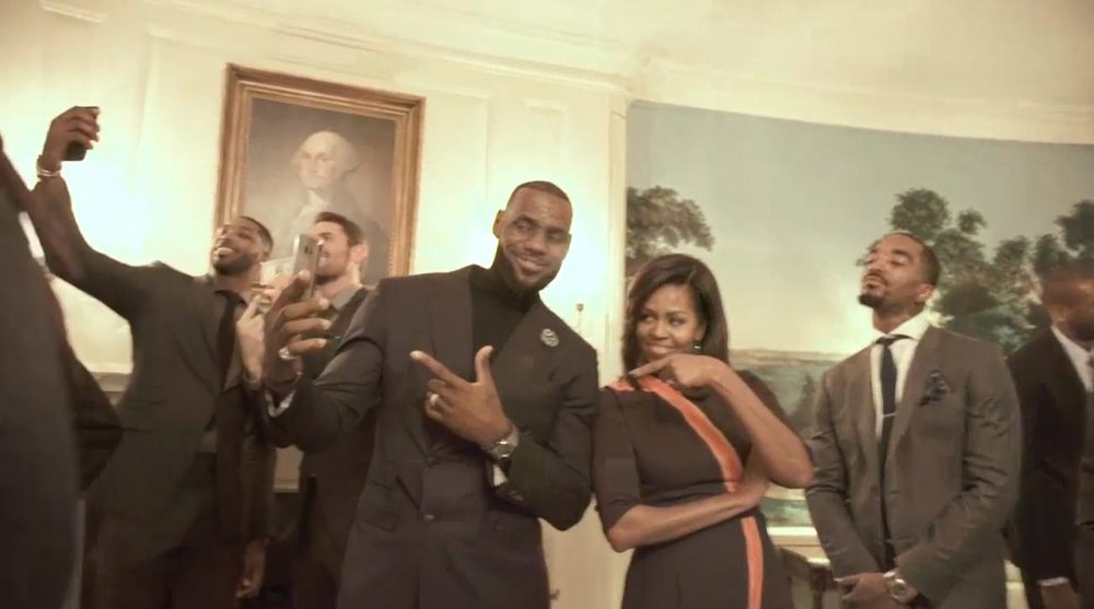 Michelle Obama x Cleveland Cavaliers holding mannequin challange poses