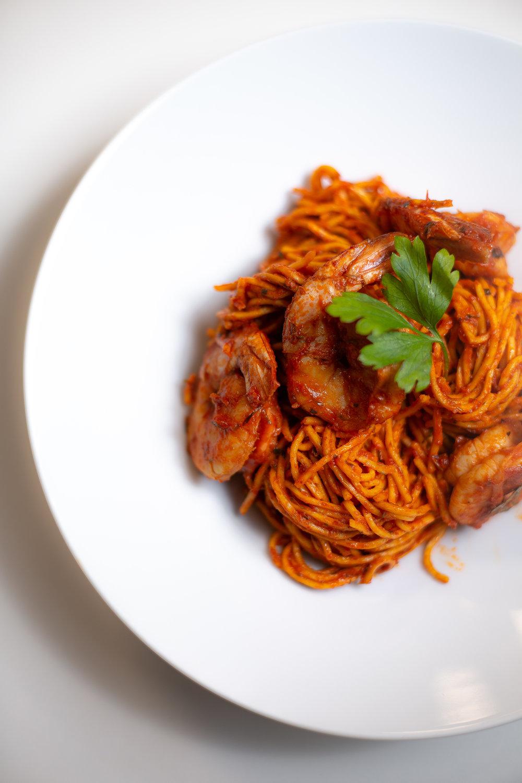 Jollof Spaghetti & Tiger Prawns